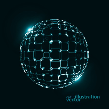 world connectivity: Abstract technological vector background, 3d sphere, light lines Illustrations