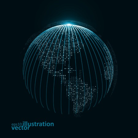 worldmap: Technology image of globe. The concept vector illustration