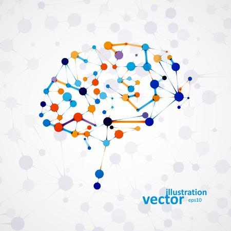 nervios: La estructura molecular en forma de cerebro, ilustración vectorial futurista Vectores