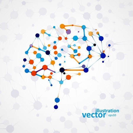 brain: Molecular structure in the form of brain, futuristic vector illustration