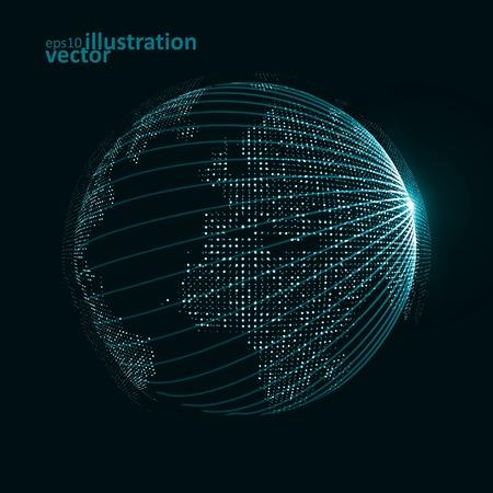esfera: Imagen de la tecnología del mundo. El vector de concepto