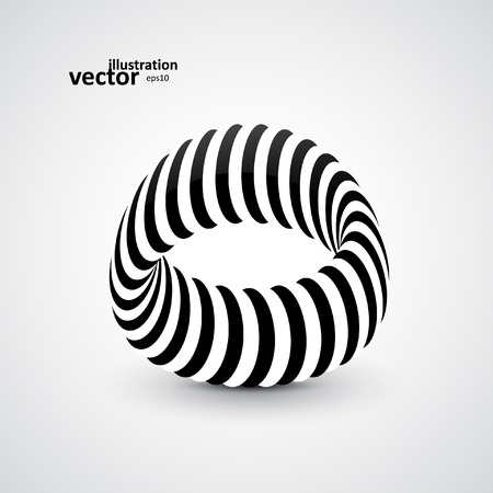 3d art: Abstract dynamic illustration, black and white 3d art