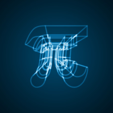 constant: The mathematical constant Pi illustration, blue background