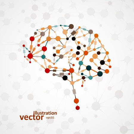 intellect: Molecular structure in the form of brain, futuristic vector illustration eps1