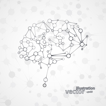 Molecular structure in the form of brain, futuristic vector illustration. Çizim