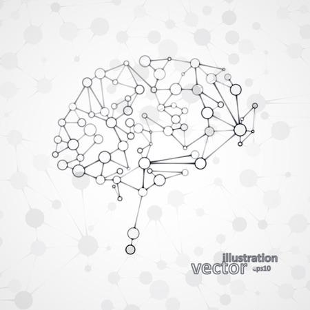 Molecular structure in the form of brain, futuristic vector illustration. Ilustração