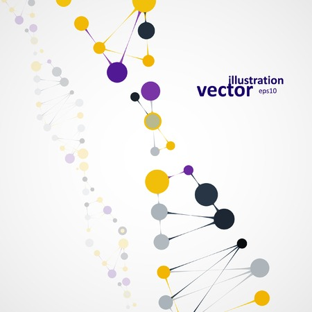 deoxyribose: Abstract DNA, futuristic molecule, cell illustration .