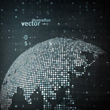 digital world: Technology image of globe. The concept vector illustration