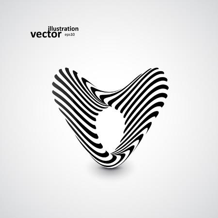 3d art: Abstract dynamic illustration, black and white 3d art eps10