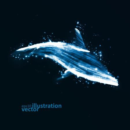dolphin silhouette: Neon dolphin, abstract futuristic art, stylish illustration eps10