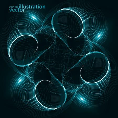 digital art: Abstract dynamic background, futuristic wavy vector illustration