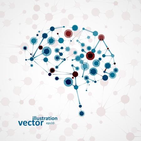 Molecular structure in the form of brain, futuristic vector illustration   Vettoriali