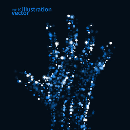 forensic: Abstract light hand, futuristic vector illustration