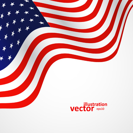 Closeup of American flag on white background, vector illustration   Çizim