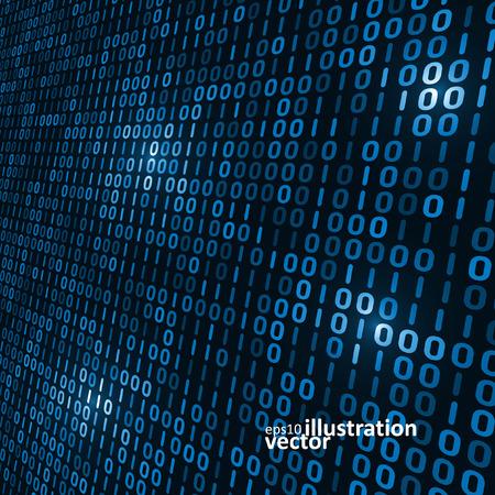 Binary code informatique fond, résumé illustration vectorielle