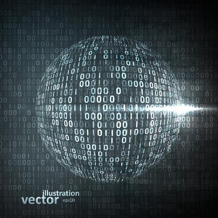 Digital code background, abstract vector illustration . The concept of globalization Ilustração