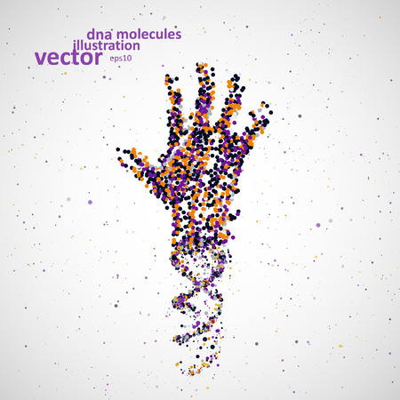 cells biology: Futuristic model of hand dna, abstract molecule, cell illustration