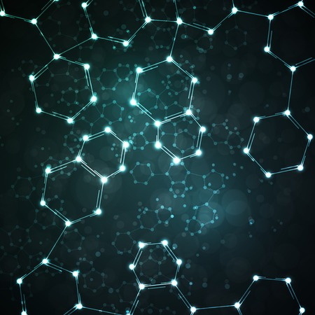 Futuristic dna, abstract molecule, cell illustration Archivio Fotografico