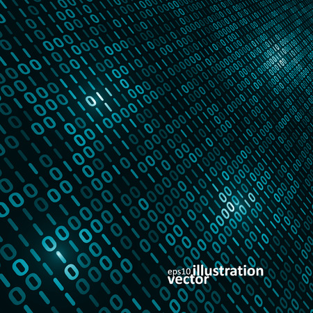 computer code: Binary computer code background, abstract vector illustration