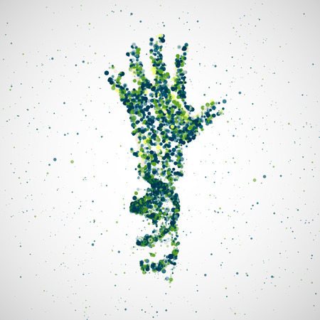 Molecule: Futuristic model of hand dna, abstract molecule, cell illustration Illustration