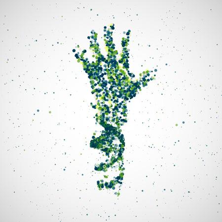 molecula: Modelo futurista de adn parte, la molécula de resumen, ilustración de células Vectores
