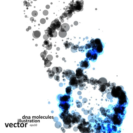 Futuristic dna, abstract molecule, cell illustration Vectores
