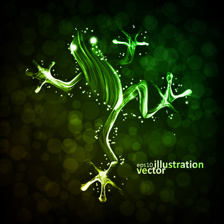 tadpole: Neon frog, abstract lights vector backgrounds eps10 Illustration