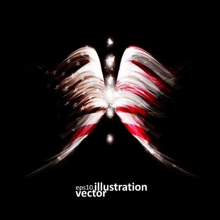 new age: Abstract angel wings with american flag on shiny space background Illustration