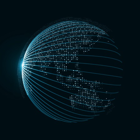 virtual world: Technology image of globe. The concept illustration