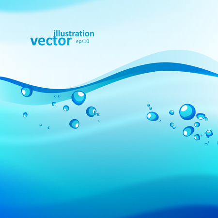 Abstract water background, vector wave illustration