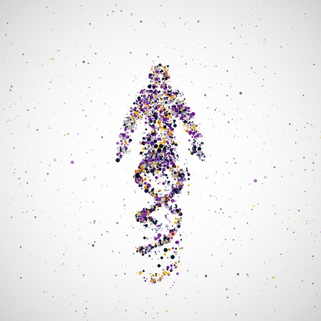 futuristic man: Futuristic model of man dna, abstract molecule cell illustration Stock Photo