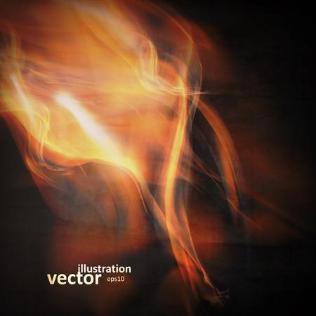 抽象的な火災は、黒の背景に炎します。カラフルなベクトルの図