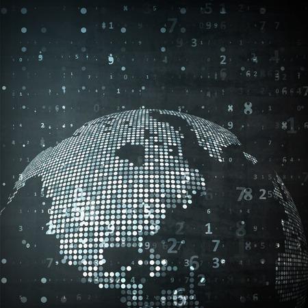 技术: 全球的技術形象。概念圖