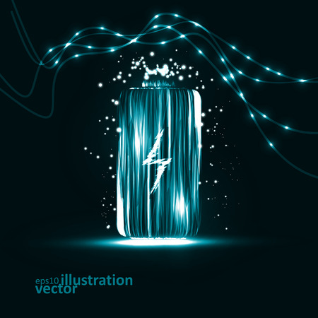 Abstract vector batterij. Creatief dynamisch element, lichtlijnen Illustraties. Stock Illustratie