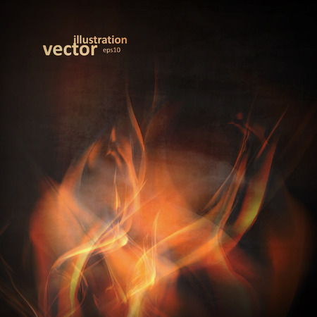 fuoco e fiamme: Abstract fire flames on a black background. Colorful vector illustration
