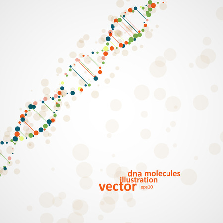 Abstract DNA, futuristic molecule, cell illustration