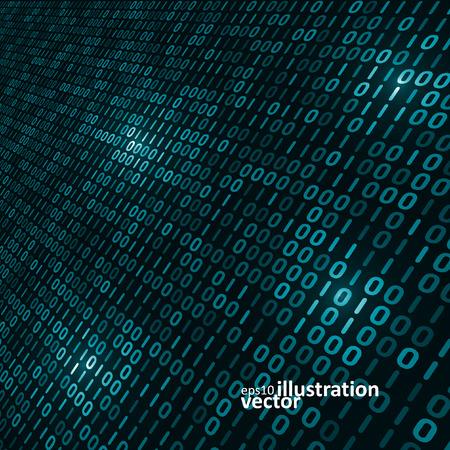 Binaire computer code achtergrond, abstracte vector illustratie