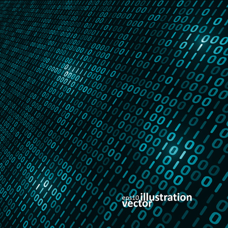 Binary computer code background, abstract vector illustration