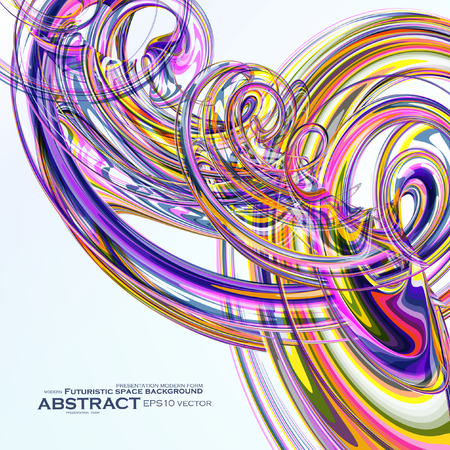 linking: Colorful abstract vector background, futuristic wavy illustration   Illustration