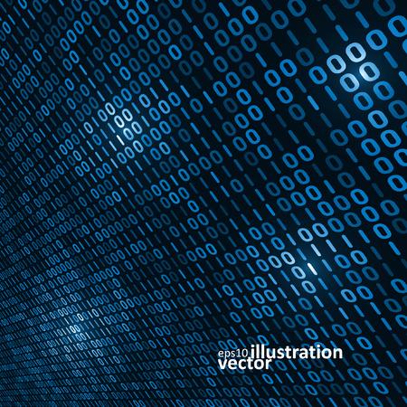 codigo binario: Fondo del c�digo binario del ordenador, ilustraci�n abstracta del vector Vectores