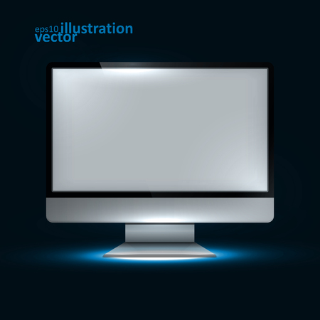 alone in the dark: Computer Display. Creative dynamic light element, vector Illustration.