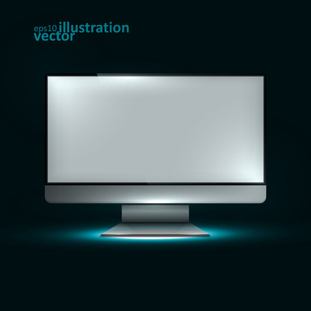 redes electricas: Computer Display. Creative dynamic light element, vector Illustrations eps10.