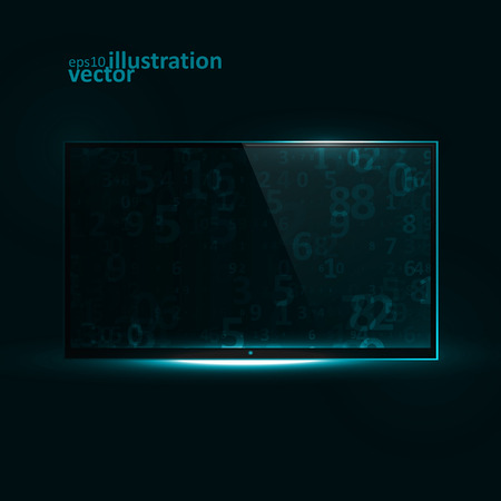 flat screen tv: TV Flat Screen Icd. Creative dynamic light element, vector Illustrations eps10.