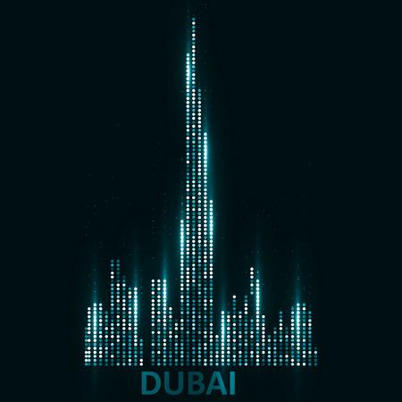두바이의 기술 이미지입니다. 개념 벡터 일러스트 레이 션 eps10