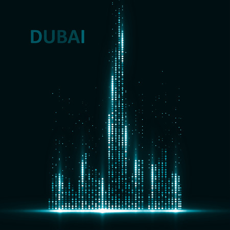 Technology image of Dubai. The concept vector illustration eps10 Çizim