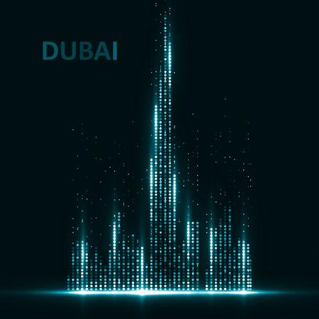 Technology image of Dubai. The concept vector illustration eps10 Vettoriali