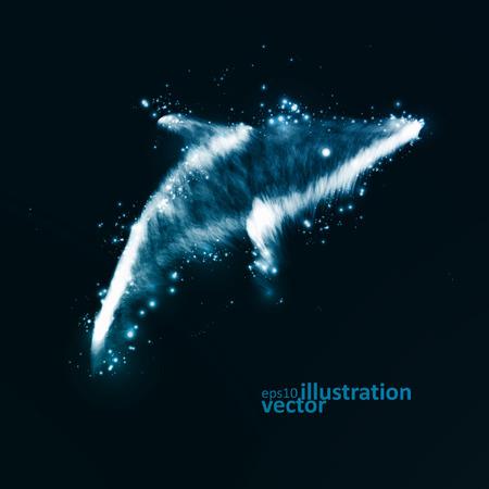 neon fish: Neon dolphin, abstract futuristic art, stylish illustration  Illustration