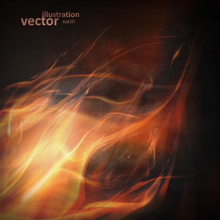 llamas de fuego: Fuego llamas abstractas sobre un fondo negro. Ilustraci�n vectorial colorido