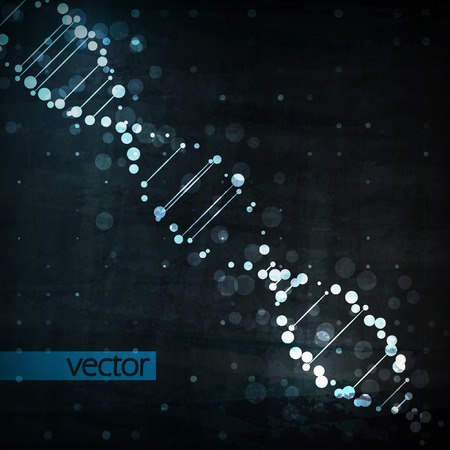 blue dna: Futuristic dna, abstract molecule, cell illustration   Illustration