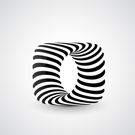 3d art: Abstract dynamic illustration, black and white 3d art Stock Photo